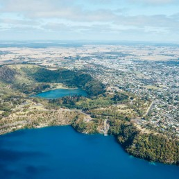 A panoramic photo of Mount Gambier